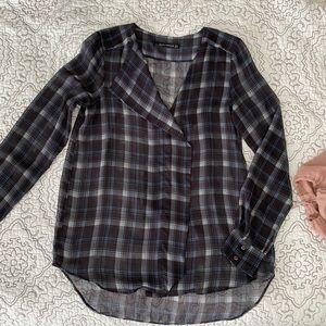 Zara Sheer Plaid Blouse